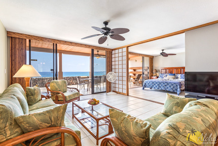 Living Room and Master Bedroom - Condo 5 103, Keauhou Kona Surf And Racquet Club